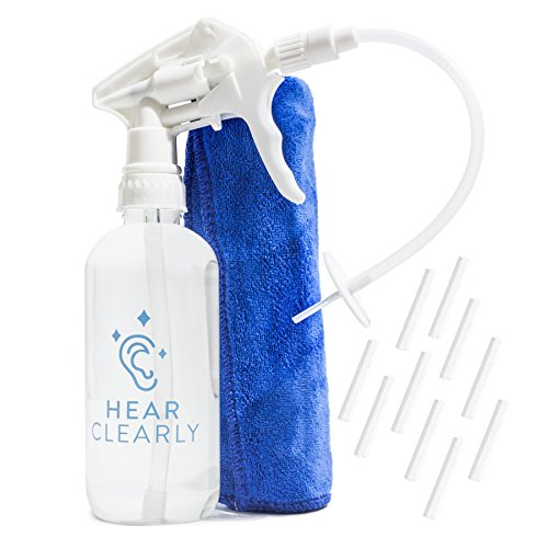 Ear Wax Remover Irrigation Tool *New Release* Earwax Removal Cleaner and Spray Bottle Flush System for Adults & Kids - Cleaning and Flushing Kit to Wash & Clean Dirty Ears - 10 Disposable Tips & Towel