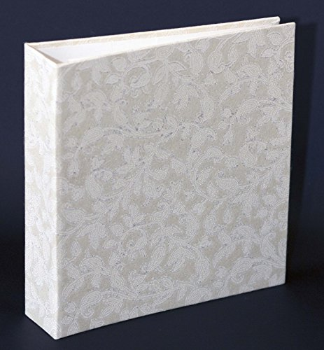 "Photo Album Scrapbook White, Wedding Photo Album, Guest Book, Handmade Paper Eco friendly, 9.9"" x 9.25"" inches, 56 pages 28 sheets white 240g. WHITE GLITER"