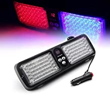 Xprite Red & Blue Sunshield High Power Emergency Warning Commercial Truck Boat Car 86 LED Strobe SMD 3528 High Power Super Bright Flash Strobe Lights Visor for Maximum Visibility with 12 Flashing Patterns