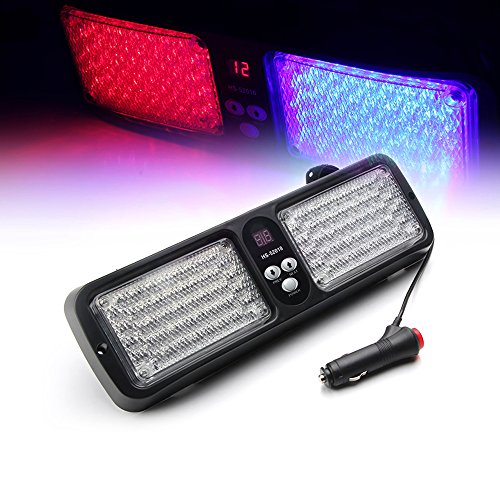 Led Visor Light - Xprite Red & Blue 86 LED Windshield SunShield High Intensity LED Law Enforcement Emergency Hazard Warning Strobe Lights (Other Color Available)
