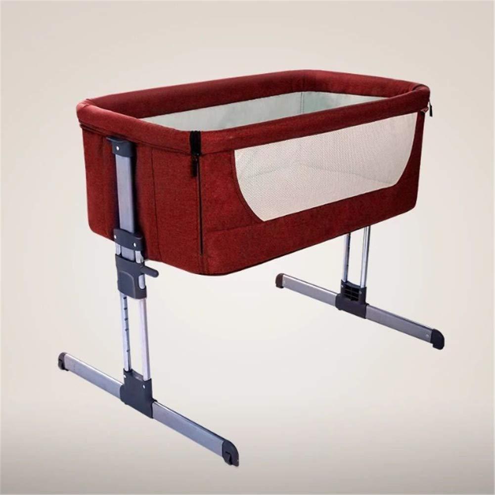 両親の通常の大きなベッド幼児旅行寝台ベッドベビーベッド折りたたみベビーベッドと接続されている赤ちゃんのポータブルベッド  Red B07RL33QJ6