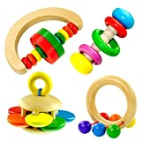 Musical Instruments Best Deals - Educational toy Lilyminiso Wooden Bell Rattle Handbell Funny Musical Toy Educational Percussion Instrument for Baby Kid ( 4 pcs Will Be Included )
