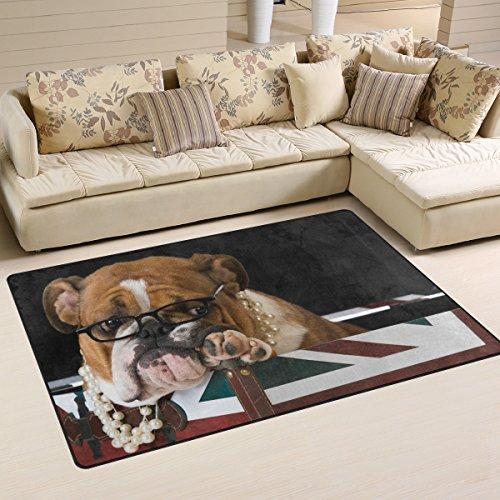WOZO English Bulldog British Flag Area Rug Rugs Non-Slip Floor Mat Doormats Living Room Bedroom 60 x 39 inches