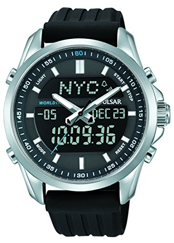 (PZ4023X1 Pulsar Men's Digital Analogue 100m Water Resistant Black Polyurethane Strap Watch)
