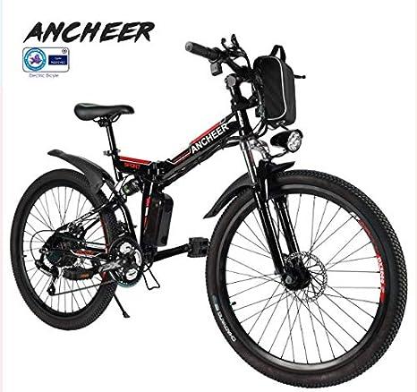Ancheer 26 Bicicleta eléctrica de montaña, para Hombres y Mujeres, Color Negro y Blanco, Rueda Ancha Resistente a los Golpes, Marco Plegable de aleación de Aluminio y Rueda de 21 Dientes Shimano: