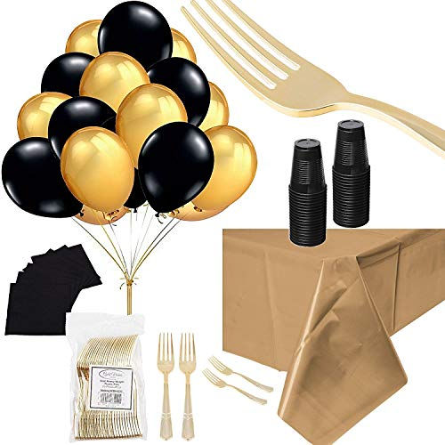 Black and Gold Party Supplies Bundle Heavy Duty Disposable Silverware Balloons Plates Napkins And Cups