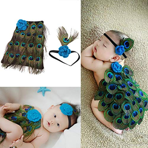 Baby photography suit,Newborn Baby Peacock Photo Photography Prop Costume Headband Clothes Set Handmade knit crochet -