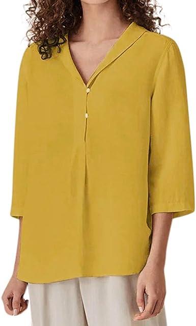 VEMOW Camisas Mujer Tops Casual Sólido de Manga Tres Cuartos Tops de algodón con Cuello en v Blusa: Amazon.es: Ropa y accesorios