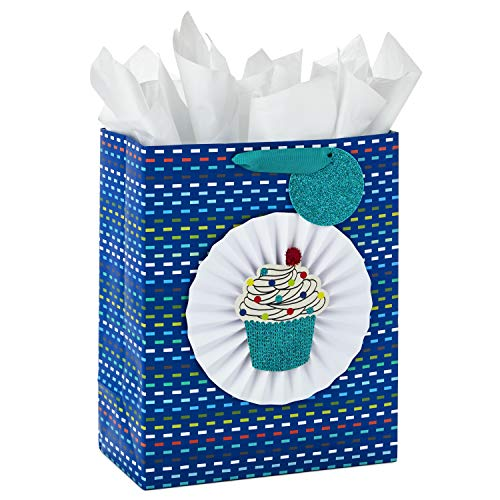 Hallmark 13 Large Gift Bag with Tissue Paper (Blue Cupcake) for Birthdays, Retirements or Any Celebration