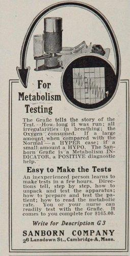 1926 Ad Sanborn Grafic Metabolism Testing Apparatus - Original Print Ad