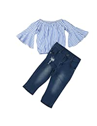 HOT!!Woaills Off Shoulder Stripe T Shirt Top Jeans Pants Outfit Cotton Clothes Set - 1-7 Years Old Toddler Baby Girl (Blue, 5T)
