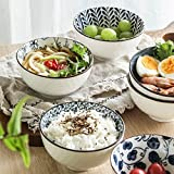 Swuut Japanese Style Ceramic Cereal Bowls,10 Ounces Salad,Soup,Rice Bowl Set,Blue and White