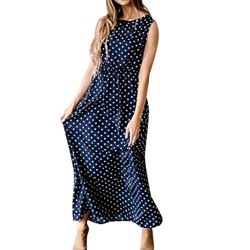 IEasⓄn Women Dress, Women Casual Sleeveless Dot Print Dress Holiday Beach Ankle-Length Sundress Navy