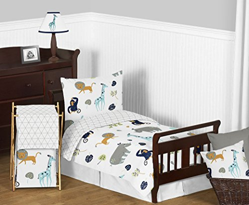 Sweet Jojo Designs 5 Piece Turquoise and Navy Blue Safari Animal Mod Jungle Boy or Girl Toddler Kids Childrens Bedding Set Comforter, Sham and Sheets