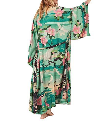 Bestyyou Women's Print Kimono Jacket Cardigan Long Robe Bathing Suit Bikini Swimsuit Cover Up Swimwear (Print E)