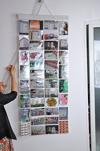 Photo Album Picture Pockets Photo Hanging Display, 40 Pockets with 80 Photo, Clear -