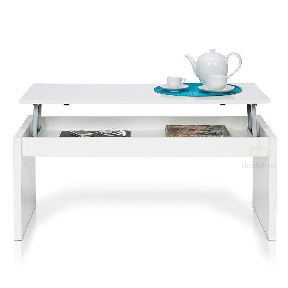 Table Basse pas cher Blanc brillant Avec Plateau Relevable