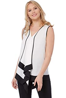 8a652bda880df Roman Originals Femme Top Débardeur Volants en Cascade sans Manches Simple  - Uni Colourblock Hauts Monochrome…
