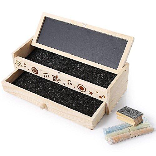 Multifunctional School Pencil Holder Pen Case Vintage Wooden Box Stationery Bag