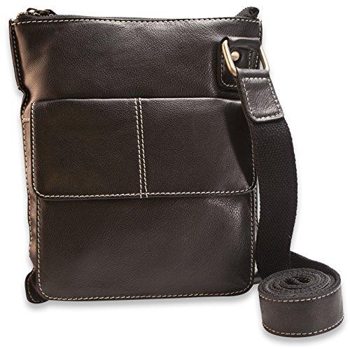 """Brunhide Womens Genuine Leather Handbag / Cross Body Shoulder Bag Suitable for 7"""" Tablet # 112-300 - Black Black"""