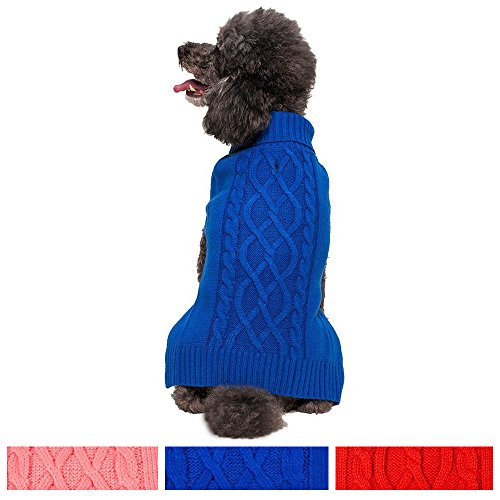 Large Cable Dog Sweater (Blueberry Pet Classic Cable Knit Royal Blue Dog Sweater, Back Length 16