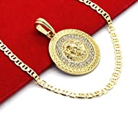 "Mens Medallion Pattern Lion Gold Tone 4mm 24"" Mariner Chain Pendant Necklace"