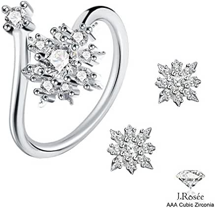 J.Rosée 925 Sterling Silver Earrings and Rings Set Snowflake Stylish Jewelry