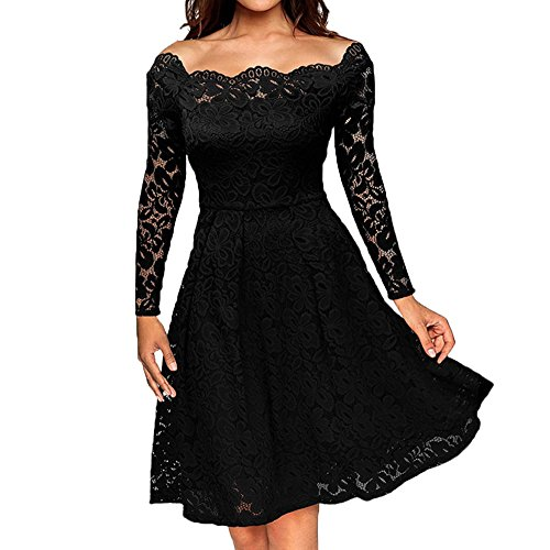 iLUGU Colorful Knee-Length Dress for Women Long Sleeve Off Shoulder Solid Color Lace Formal Evening Party Black -