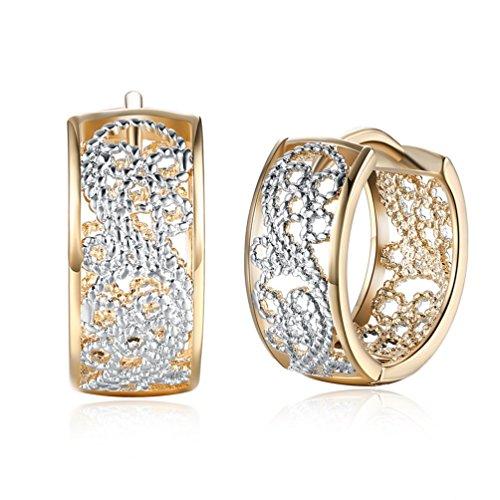 Champaign Gold Plated Filigree Earrings 2 Tones Vintage Huggie Hoop Earrings ()