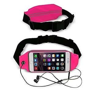 Theoutlettablet® Cinturón - Riñonera deportivo para running - correr - impermeable al sudor y Reflectante con bolsillo para transporte Smartphone Huawei P8 Color ROSA FUCSIA