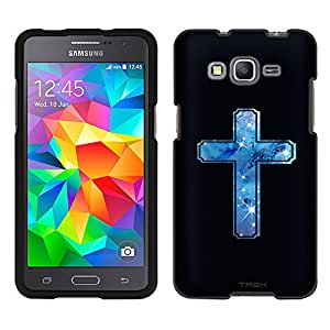 Samsung Galaxy Grand Prime Case, Snap On Cover by Trek Nebula Blue Cross on Black Case