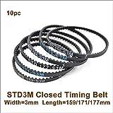 VNHOME 150 159 171 174 177 S3M Rear Belt W=3mm T=50/53/57/58/59 S3M Closed-Loop Rubber Belt 3M Synchronous Belt 3Racing Sakura CS