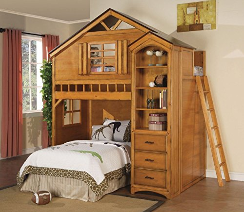 1perfectchoice Kids Youth Fun Tree House Twin Loft Bunk