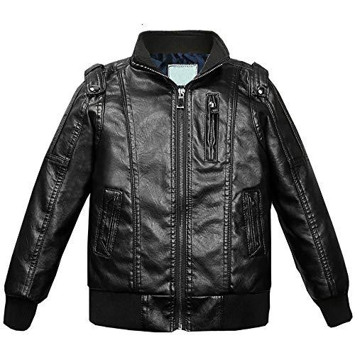 Echinodon Bikerjack voor jongens, leren jas, opstaande kraag, kindermotorjack van kunstleer