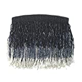 From St Xavier Sienna Beaded Fringe Clutch Evening Bag (Black/Silver)
