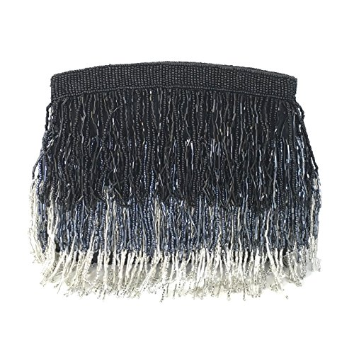 From St Xavier Sienna Beaded Fringe Clutch Evening Bag (Black/Silver) by From St Xavier
