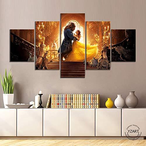 HNTHBZ Moderne Toile Peinture La Belle et la Bête Affiche du Film Oeuvre d'art Dessin Photos Art Peinture décorative for…