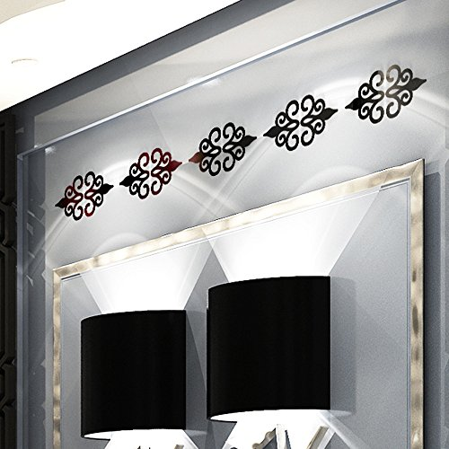 DDLmax 3D DIY Room Decoration Specchio Acrylic Wall Sticker Modern Stickers Decoration (Black) -