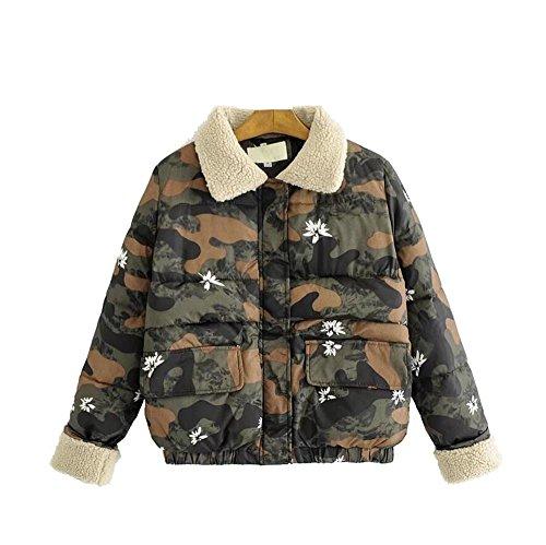 Camouflage De Sólido Cordero Salvaje Green Color Sishuinianhua Moda Lana Abrigo 5XqwWp8