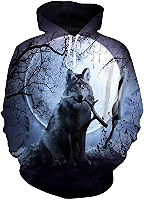 EUR Plus Size Wolf Sudaderas Impresión 3D Animales del hombre lobo Hoody Sudadera Hip Hop Unisex Chaqueta con bolsillos grandes Tops