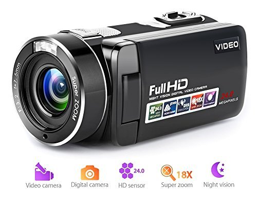 Video Camera Camcorder Full HD Digital Camera 1080p 18X Digital Zoom Night Vision Pause...