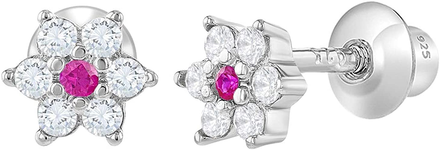4 mm 925 real plata *** pequeñas circonita pendientes flor diamantado