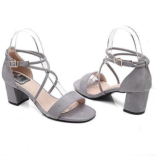 sandalias abiertas con tacones altos sandalias de la hebilla gruesa cruz de verano Grey