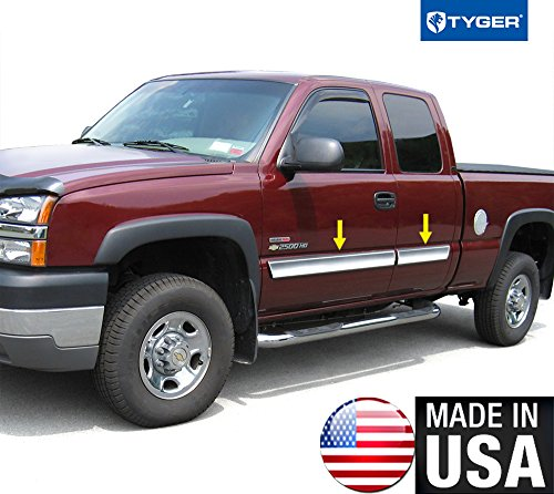 Trim Rocker Panel Chrome (Made In USA! Works With 03-06 Chevy Silverado Extended Rocker Panel Chrome Stainless Steel Body Side Moulding Molding Trim Cover 3.5