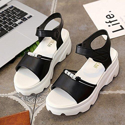 Sandals Amazing Women Summer Roman Flat Platform Shoes (Color : White, Size : EU36/UK4/CN36) Black