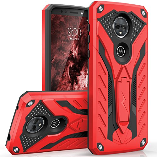 Zizo Static Series Compatible with Motorola Moto e5 Supra Case Military Grade Drop Tested with Built in Kickstand Moto e5 Plus Case RED Black