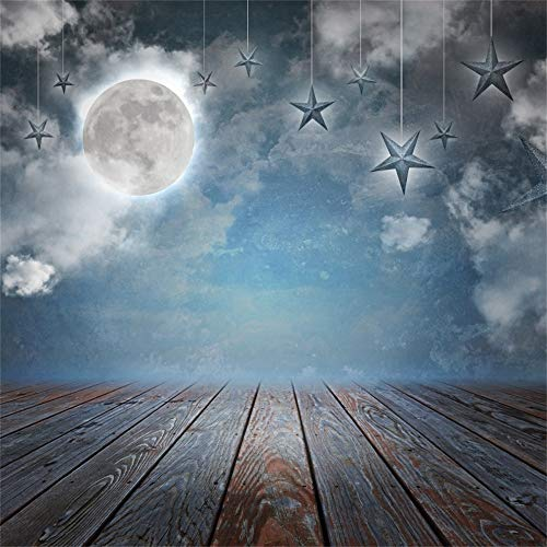 Laeacco Magical Theme Backdrop Vinyl 8x8ft Fairytale Dim Full Moon Hanging Stars Clouds Rustic Faded Wooden Stage Background Child Kids Adult Portrait Shoot Studio Personal Artistic Photo Props ()