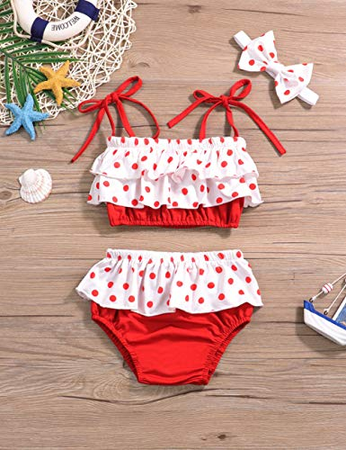 8a30dad7011af Baby Girl Swimsuit Ruffle Red Dot Top and Bikinis Skirt with Headband 2  Piece Swimwear