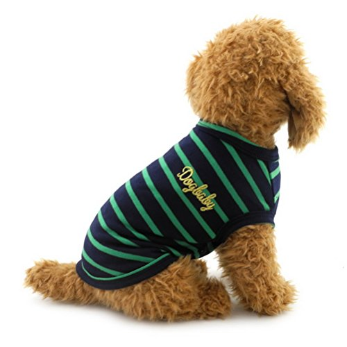 Zunea Stripe Summer Cotton Breathable Dog Tank Top Vest T-Shirt Sweatshirts Boys Male Pet Beachwear Camp Shirt,for Small Dog Cat Puppy Green XL