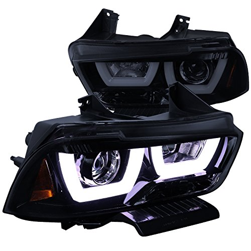 Headlights Charger Halo Dodge - Spec-D Tuning 2LHP-CHG11G-TM Dodge Charger Glossy Black Dual Halo LED DRL Projector Headlights Pair